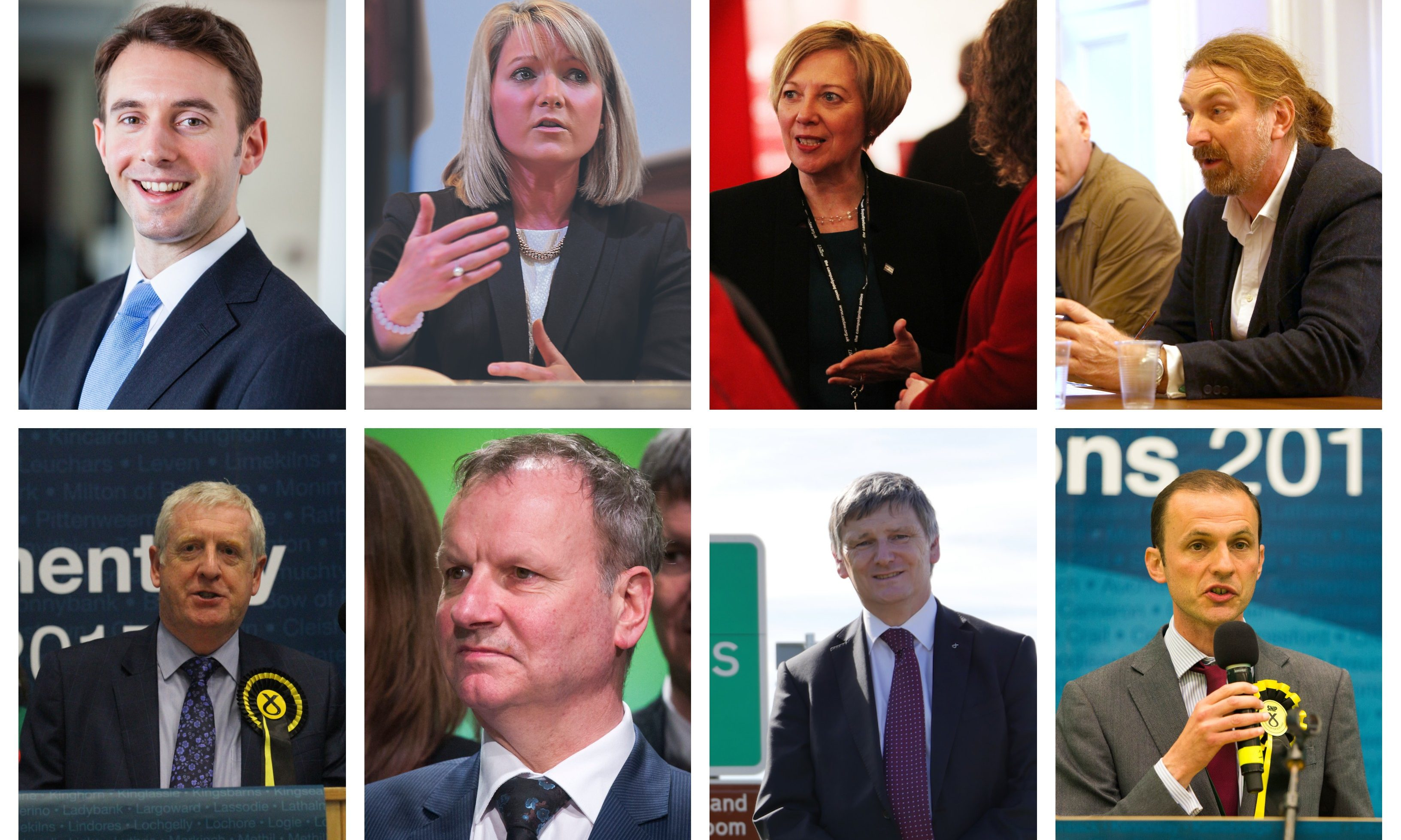 Local MPs: Top row L-R) - Luke Graham, Kirstene Hair, Lesley Laird and Chris Law. Bottom row L-R) - Stewart Hosie, Douglas Chapman, Peter Wishart, Peter Grant and Stephen Gethins.