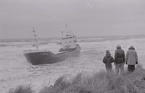 The coaster, Fendyke, aground in Carnoustie Bay.