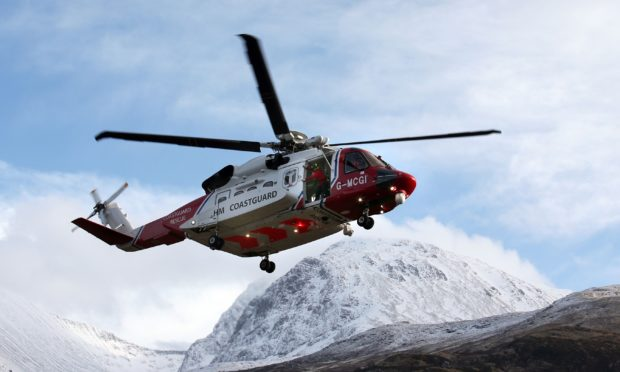 A coastguard rescue helicopter at Ben Nevis in previous years.