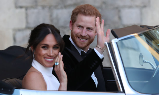 The Duke and Duchess of Sussex, Meghan Markle and Prince Harry, on their wedding day.
