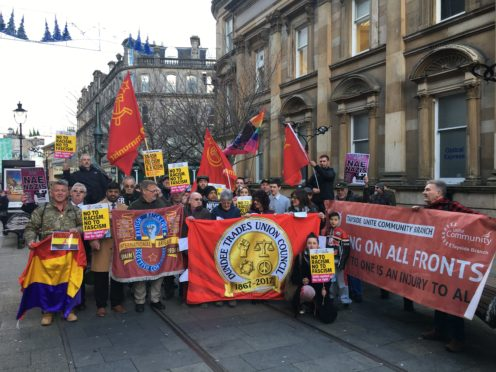 The protesters at the rally in Dundee city centre.