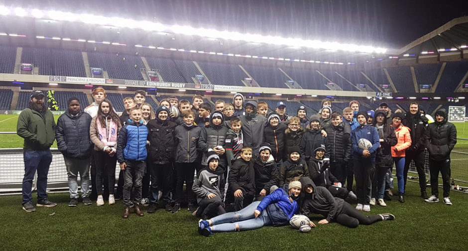 Rugby Academy members at Murrayfield for the Edinburgh v Newcastle Falcons game.