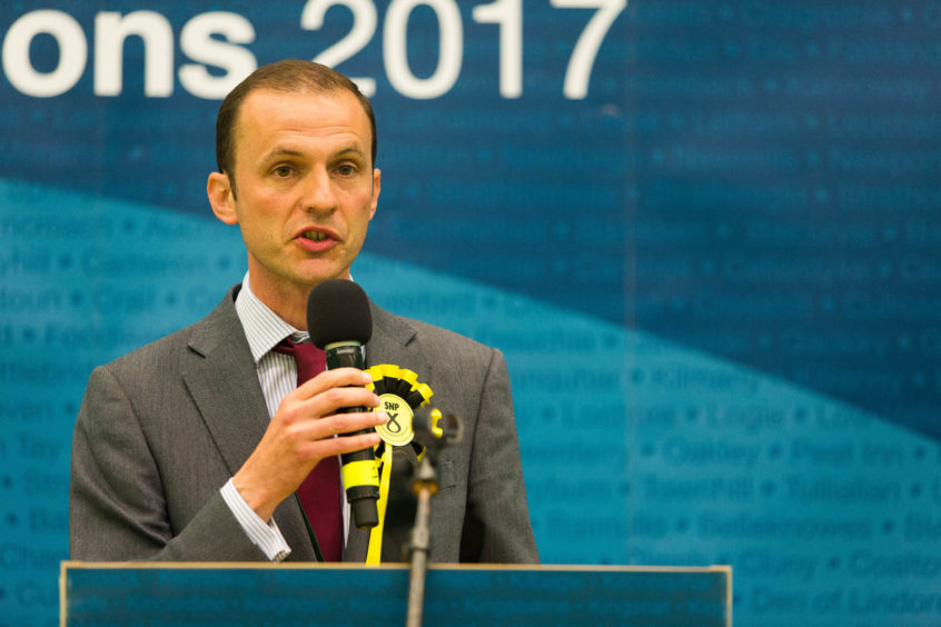 Stephen Gethins MP at the 2017 general election count.