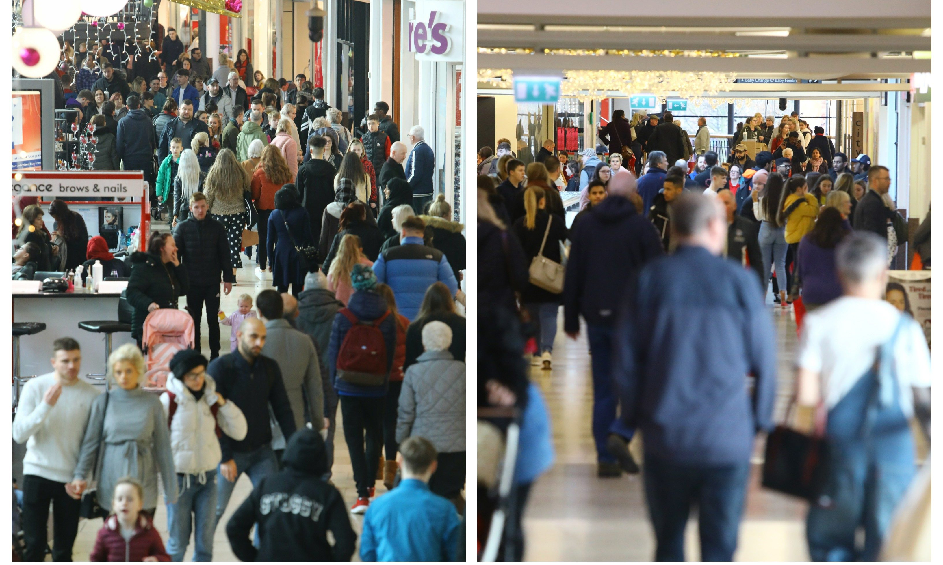 Shoppers in Dundee's Overgate on Boxing Day 2018.