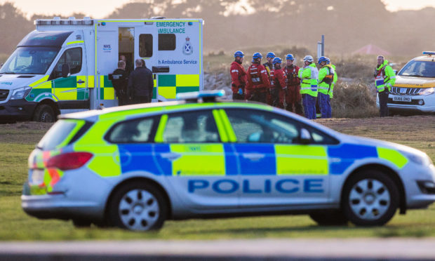 Rescue personnel at the scene near the Barry Burn in Carnoustie.