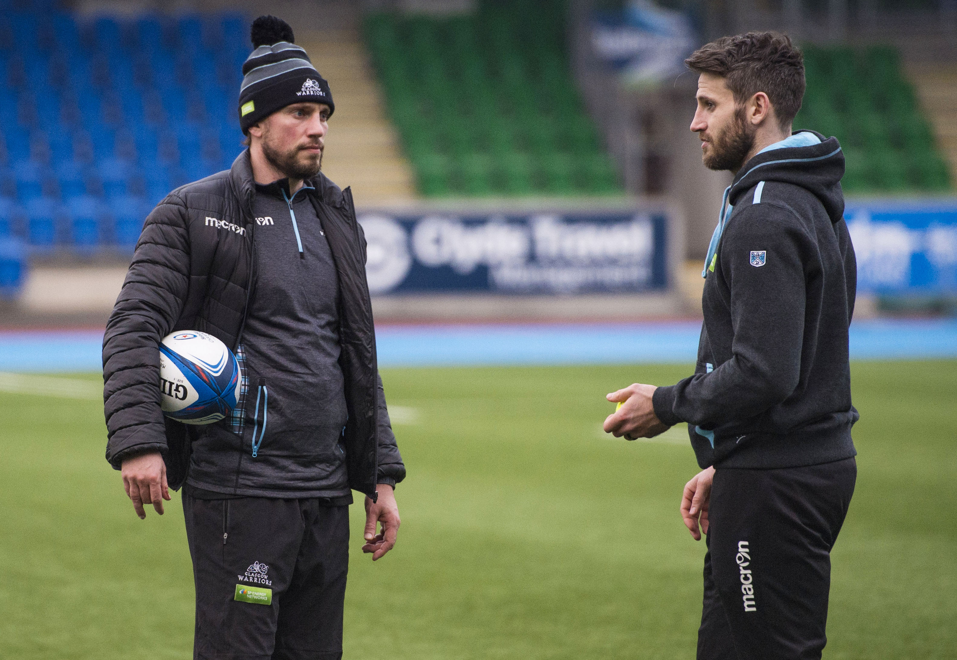 Mike Blair and Tommy Seymour discuss matters at Glasgow Warriors training at Scotstoun.