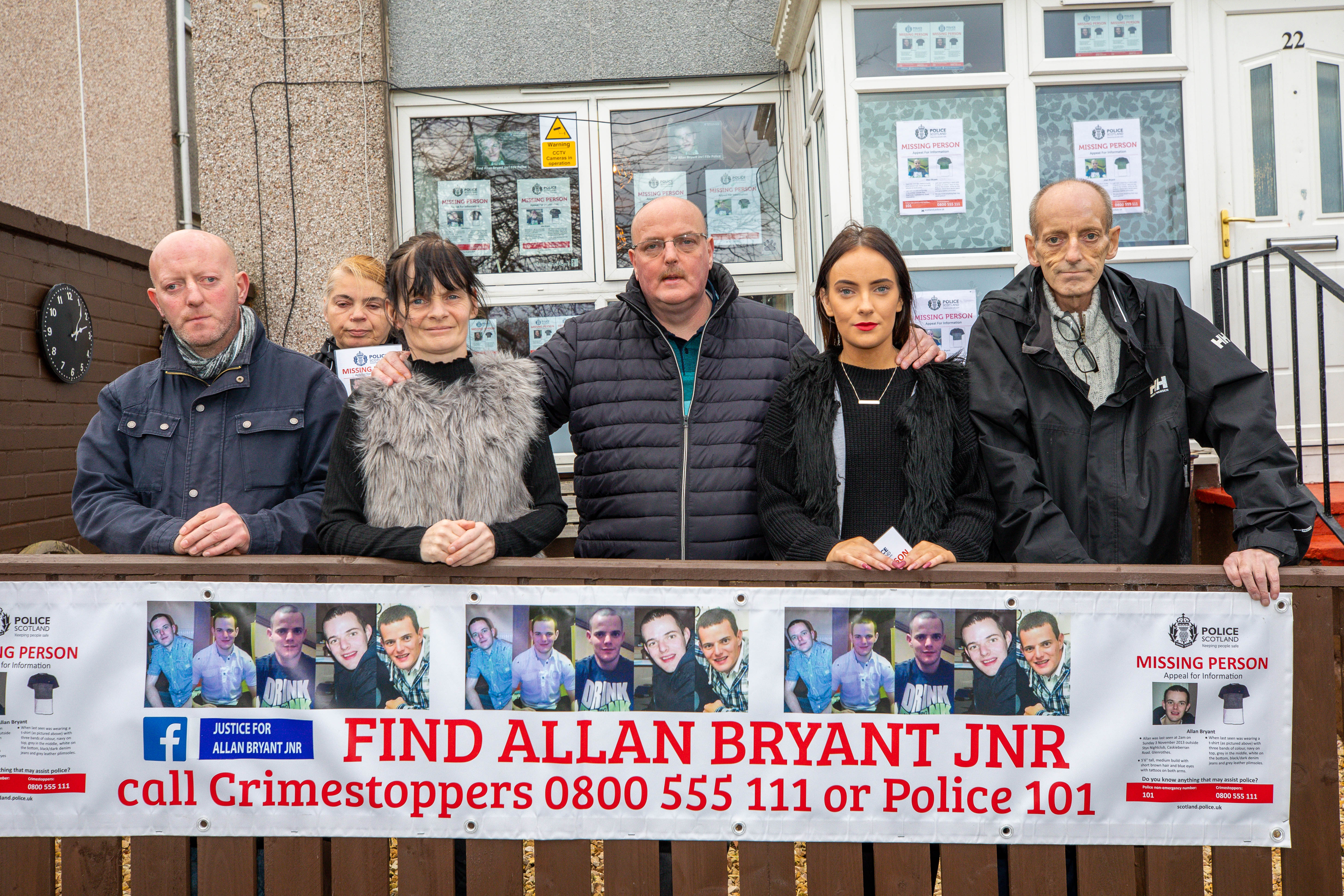 David Bryant (far right) pictured with William Bryant, Suzanne Cormack, Marie Degan, Allan Bryant Snr and Amy Bryant on the fifth anniversary of Allan Bryant's disappearance last month.