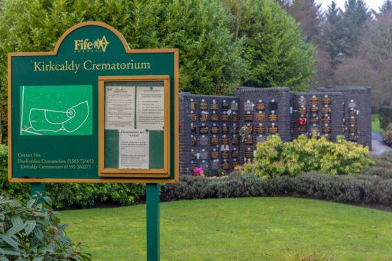 The memorial plaques at Kirkcaldy Crematorium.