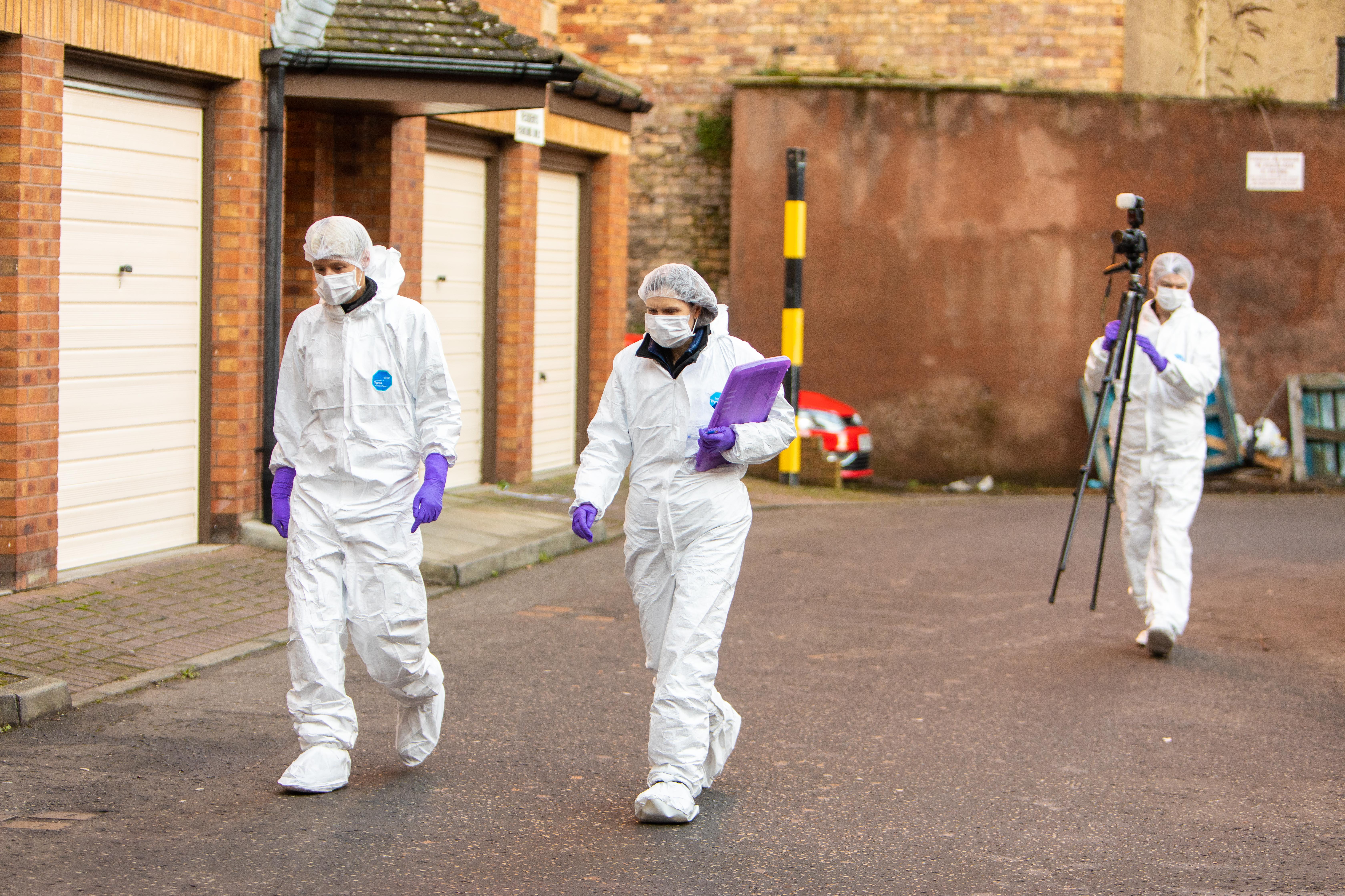 The scene on Monday morning, more than 24 hours after the man was found dead.