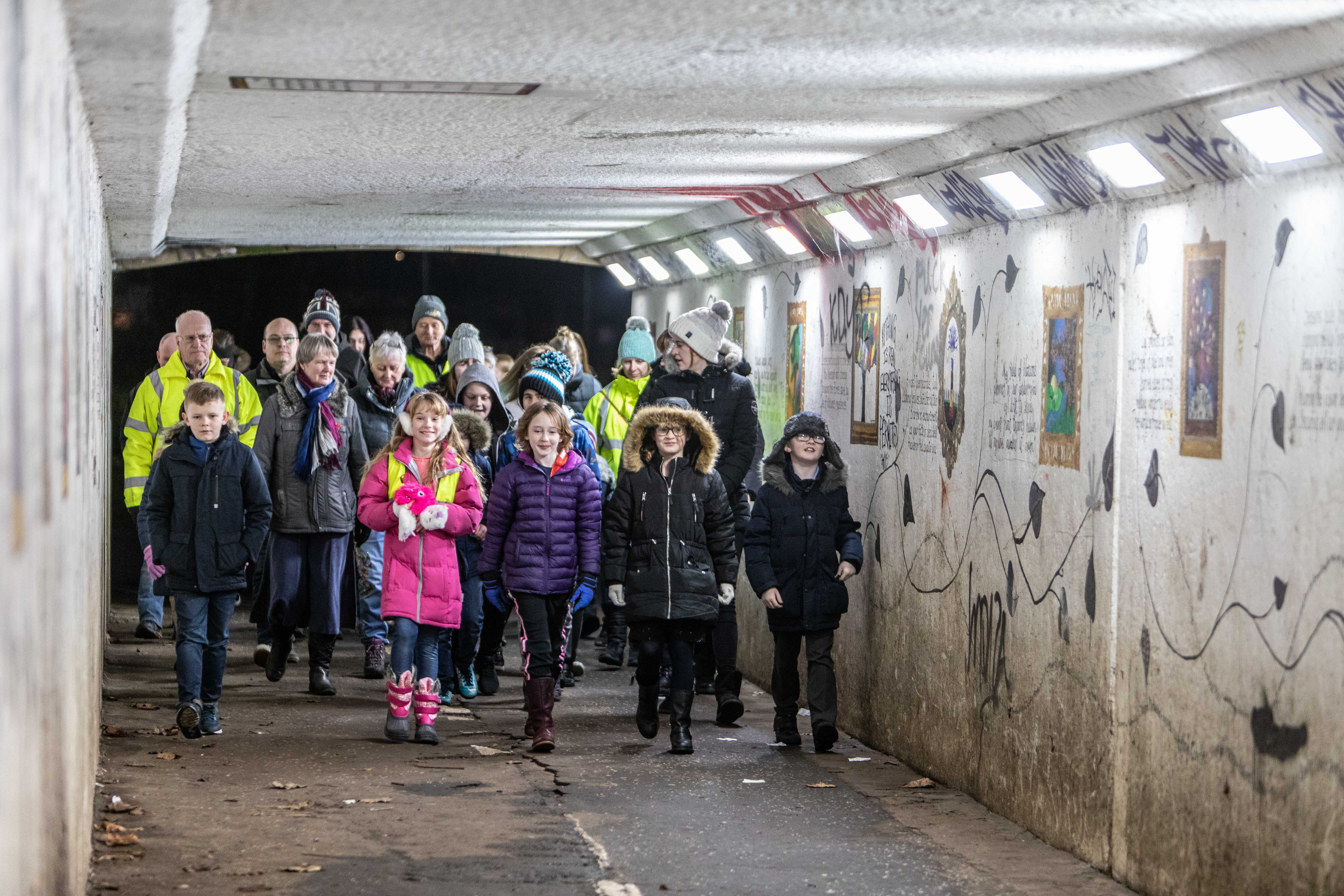 The underpass below the A92 trunk road that school kids will pass through on their way home after their bus service stops