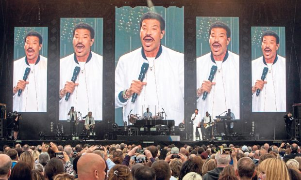 Lionel Richie danced on the McDiarmid Park stage in Perth. Steve MacDougall/DCT Media