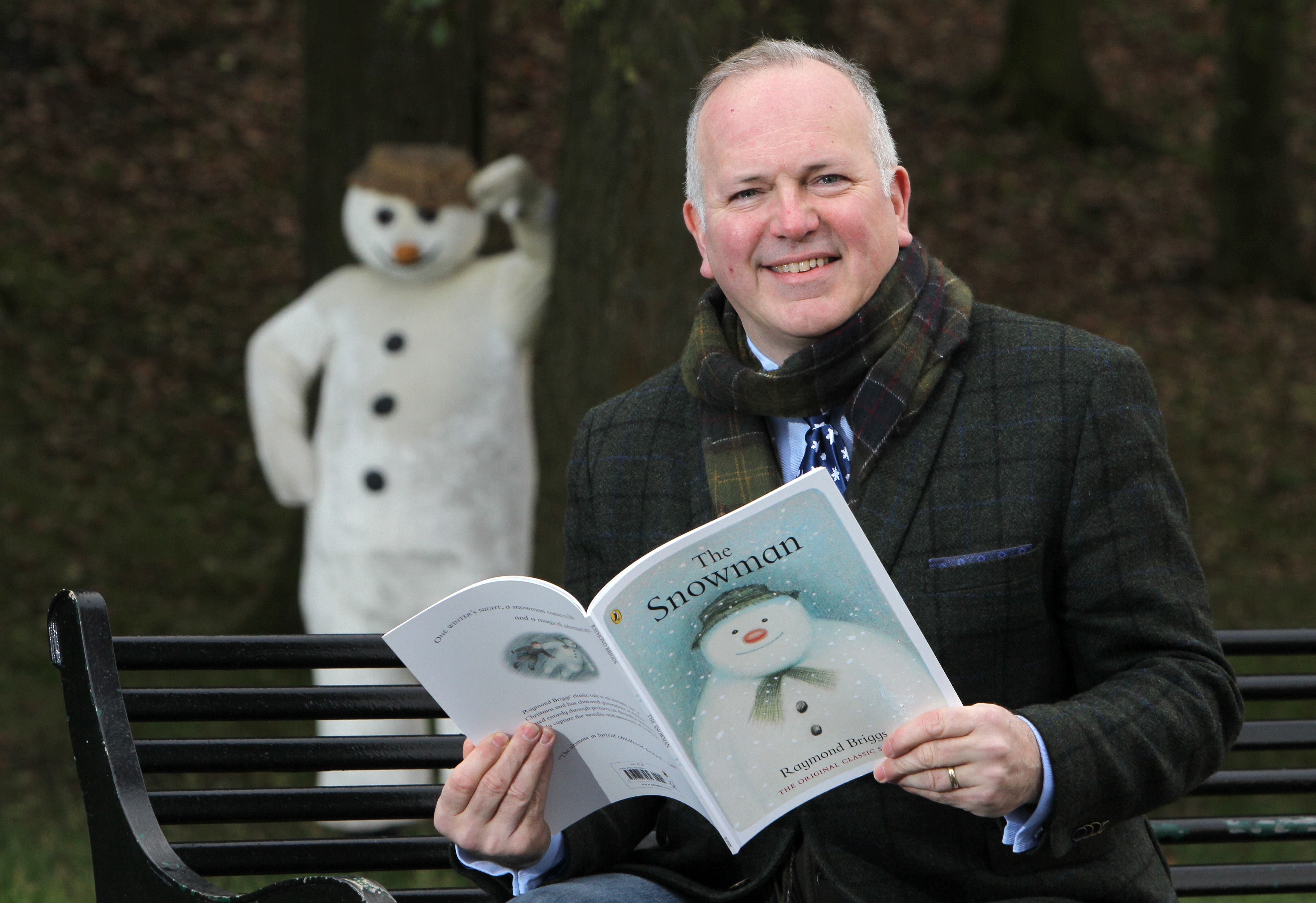 Jamie MacDougall, presenter of this year's RSNO Christmas concerts, with the Snowman.