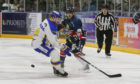 Stars' Jordan Cownie battles with Fife rival Joe Basaraba.