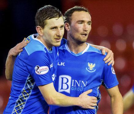 Blair Alston celebrates the Aberdeen win with Chris Kane.