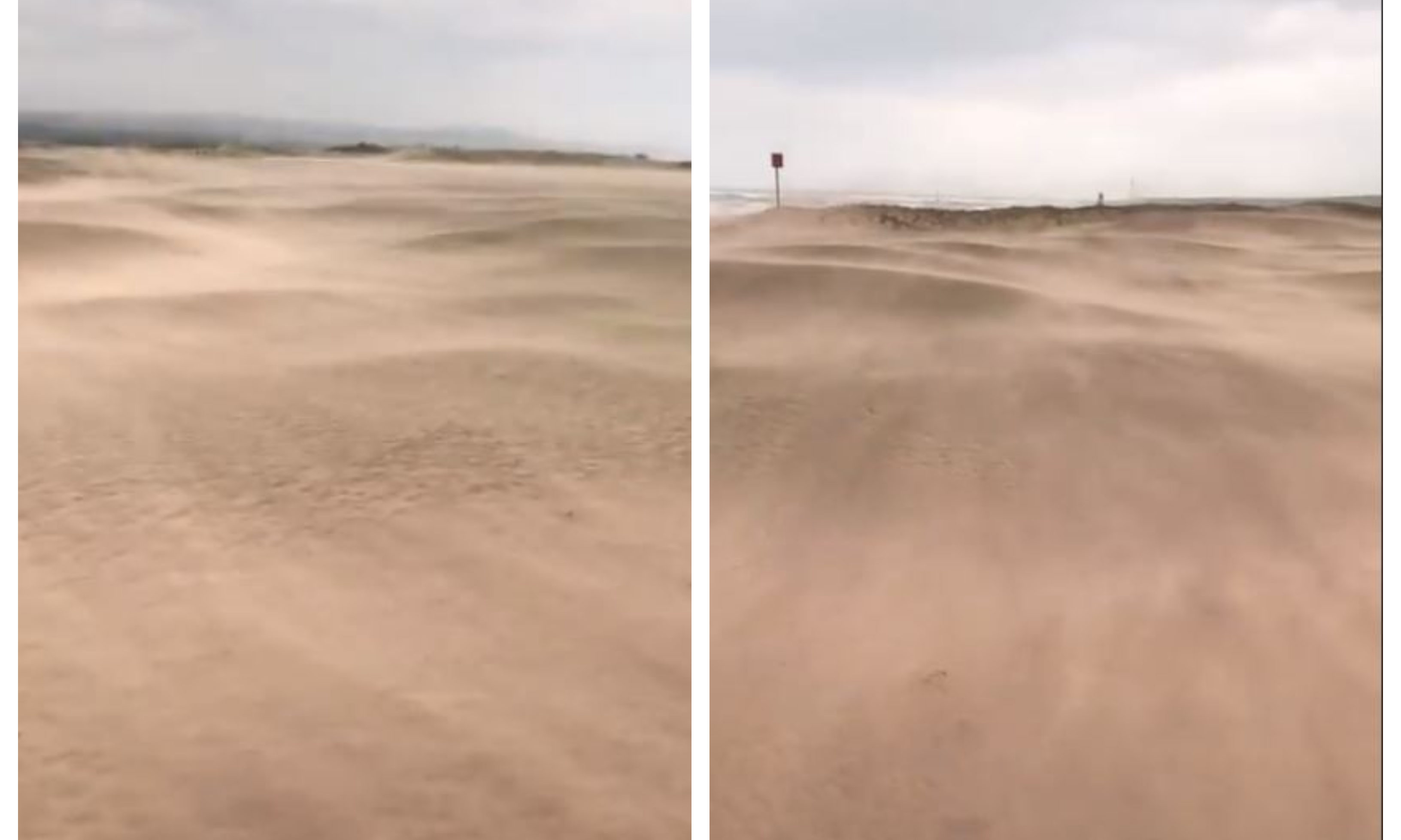 The second fairway of the 1562 Course at Montrose Golf Links has been left covered in sand.