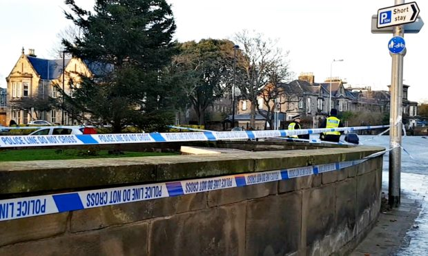 Police tape at the scene of the tragedy.