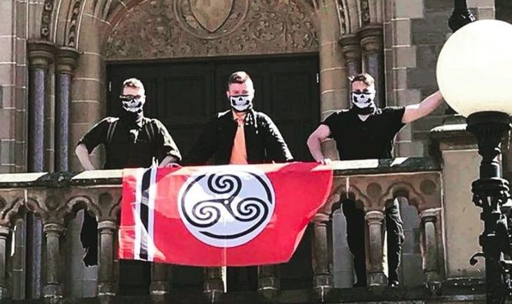 Members of fascist group the Scottish Nationalist Society posing outside McManus Galleries.