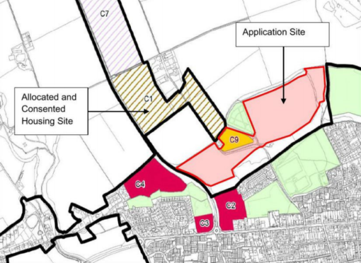 The proposed development site sits beside land consented for housing