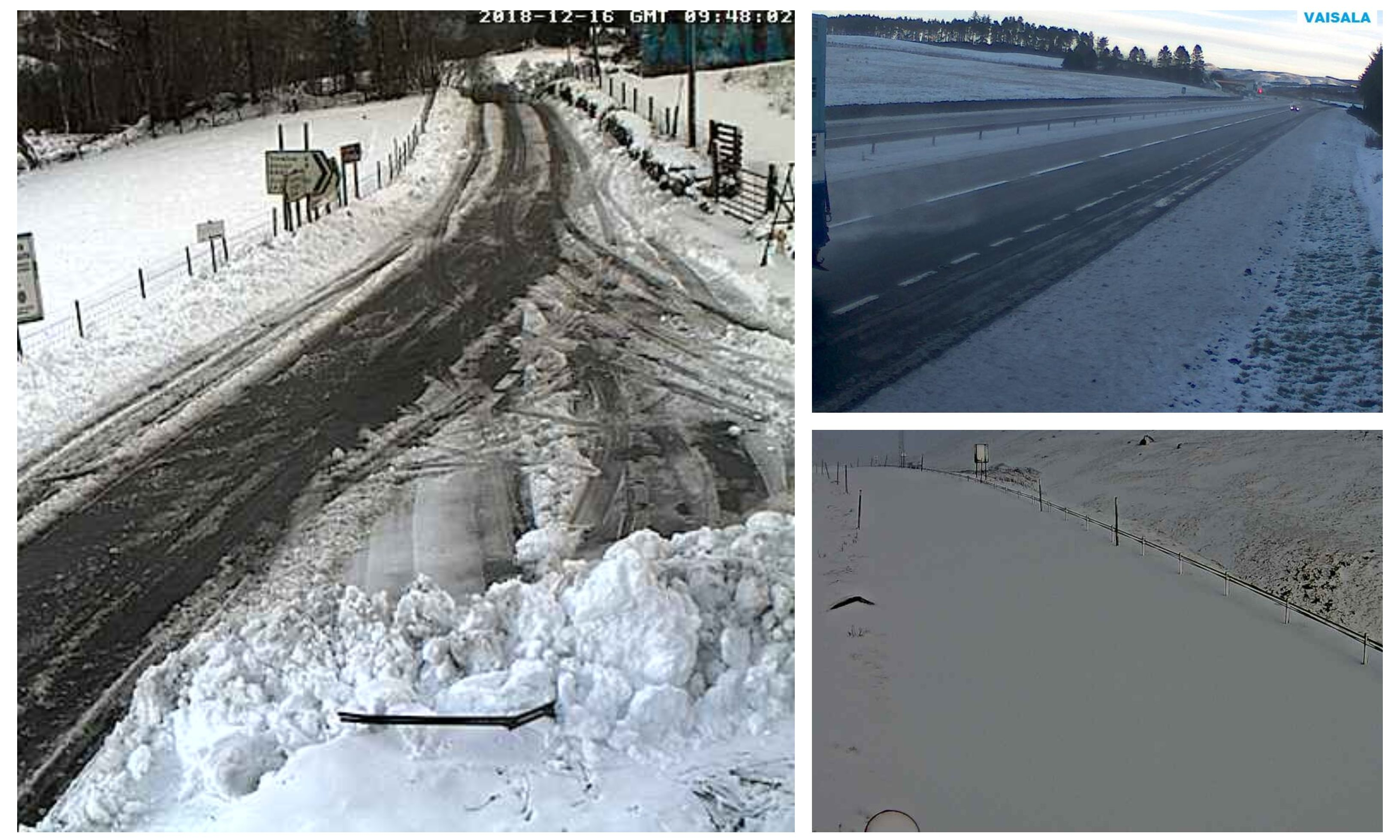 Webcam photos showing the snow in Kinloch Rannoch (left), the A9 at Loaninghead (top right) and the A93 at Glenshee (bottom right).