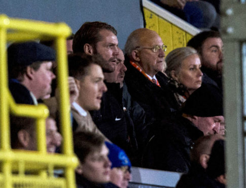 Robbie Neilson watching the last few minutes from the Cappielow stand.