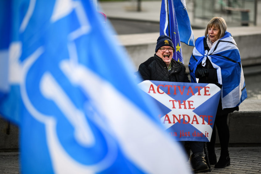 Independence supporters in Edinburgh on January 17.