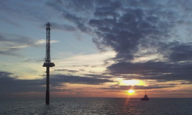 The met mast at Inch Cape offshore wind farm.