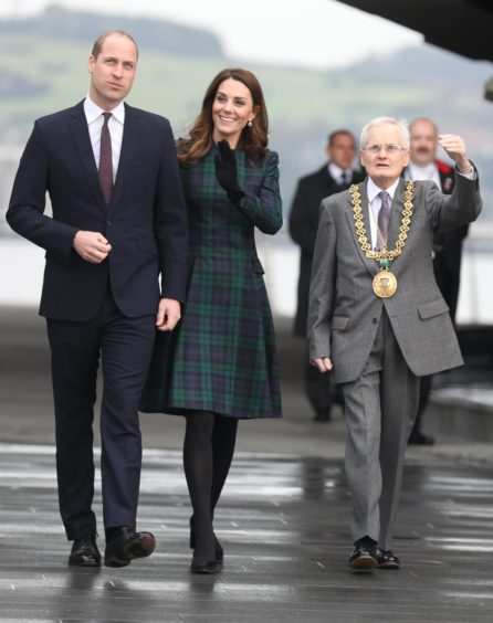 Catherine, Duchess of Cambridge and Prince William, Duke of Cambridge arrive to officially open V&A Dundee.