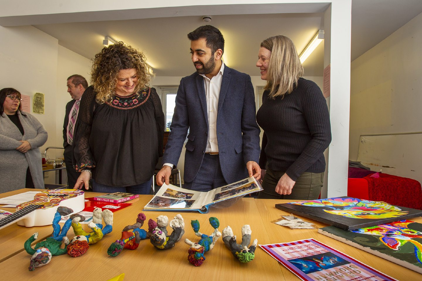 Glen Isla Project team manager Alison Hendry, Justice Minister Humza Yousaf and ex-offender Kathleen Carnegie.