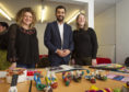 Team manager Alison Hendry, Justice minister Humza Yousaf and former offender Kathleen Carnegie at the Glen Isla Project