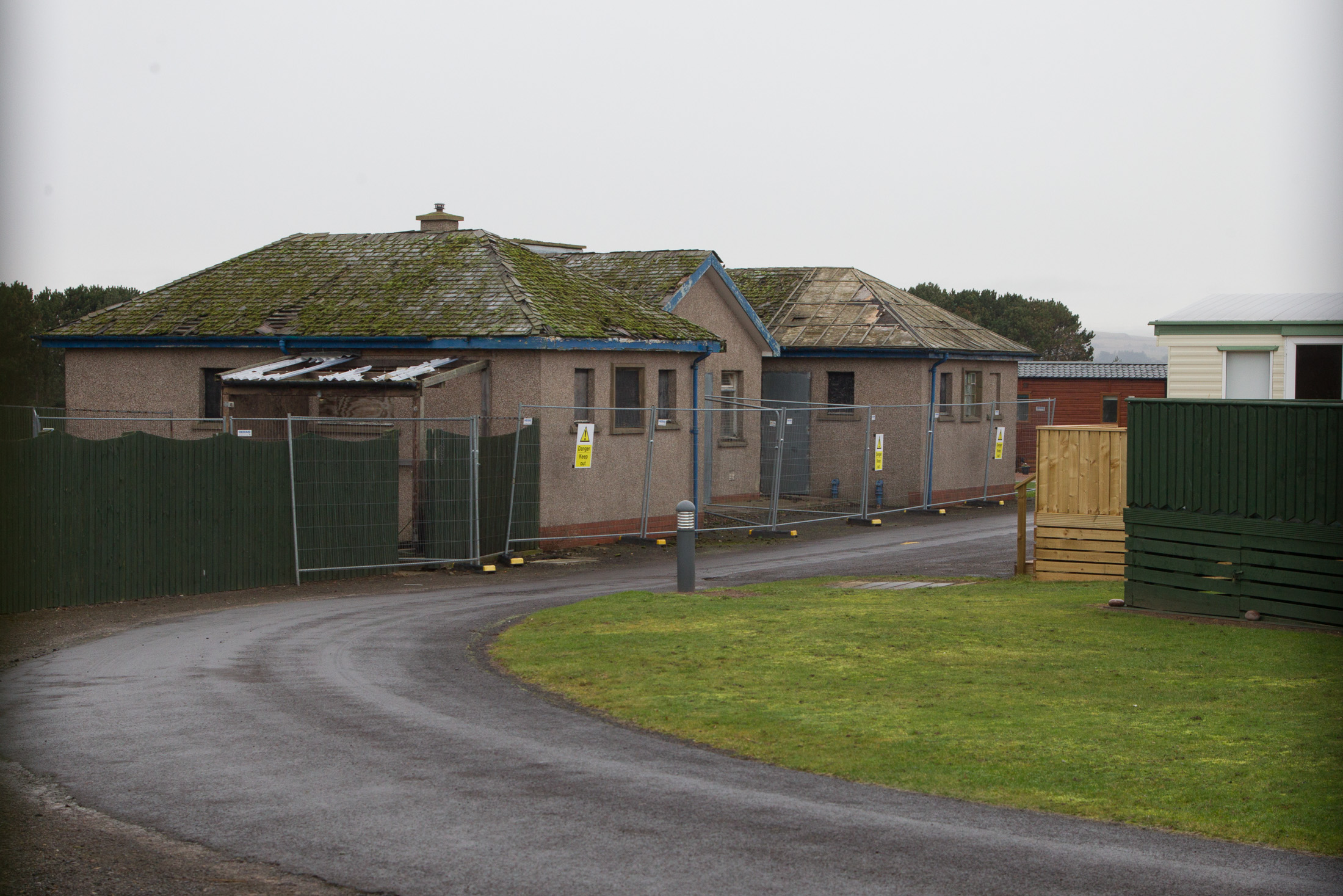 The redundant toilet block at South Links Holiday Park.