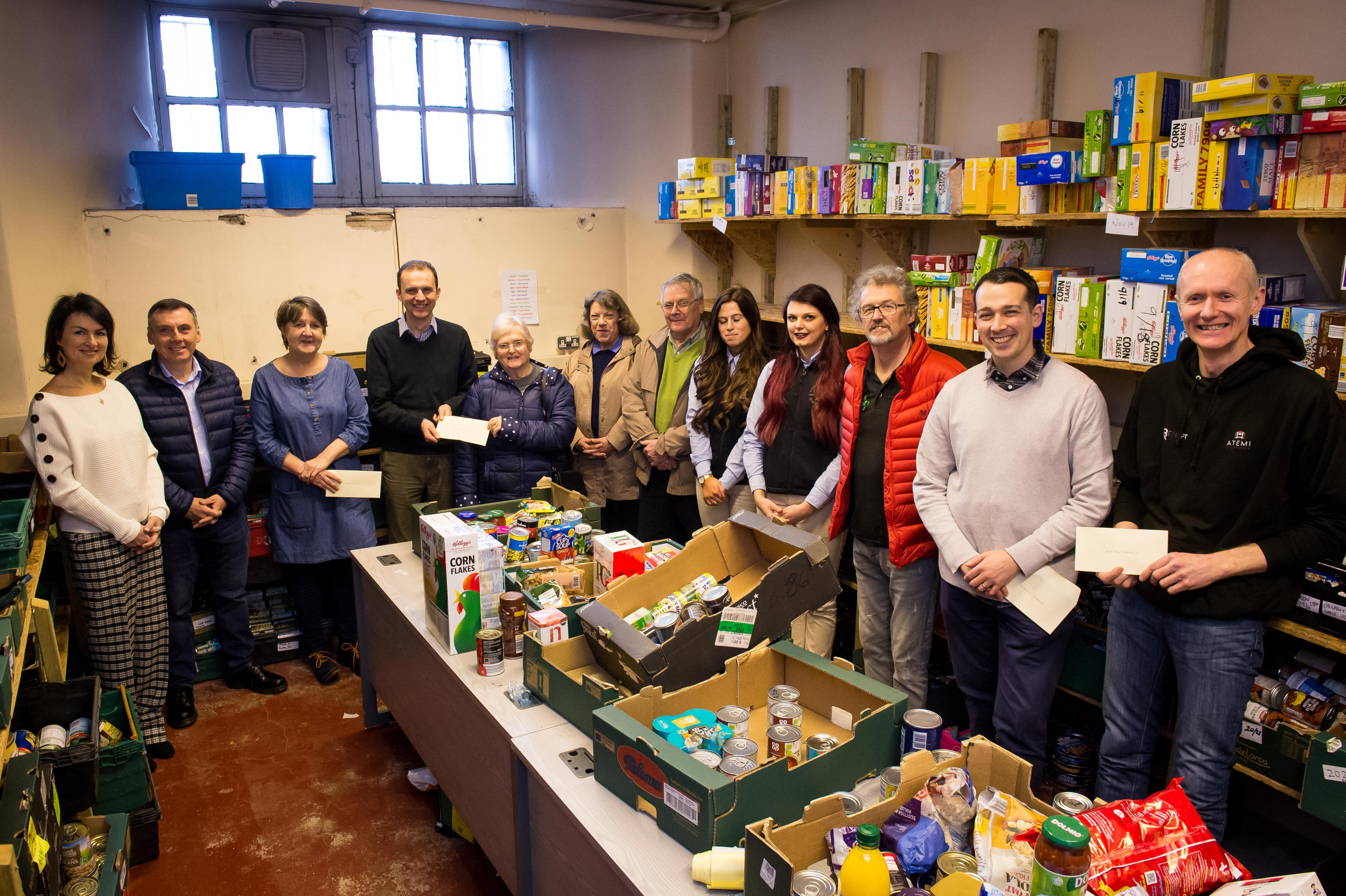 Stephen Gethins MP presenting all foodbanks in North East Fife - Cupar, Tay Bridgehead, East Neuk, Levenmouth and Storehouse (St Andrews) - with donations raised by the Parliamentary Christmas Card competition which raised £700 in total. Representatives of the foodbanks plus sponsors will be in attendance  In Pic.......... Lucy Mitchell, sponsor, Owen Hazel, sponsor, Fiona Finlay, Cupar foodbank, Stephen Gethins MP, Muriel O'neill, Lizzie Myles and David Myles, all Tay Bridgehead foodbank, Katie Scott and Stephanie Wilkie, from sponsors, Lindores Abbey Distillery, Stewart English, Levenmouth foodbank, Jim Cronin, St Andrews foodbank, Richard Wemyss, East Neuk foodbank,