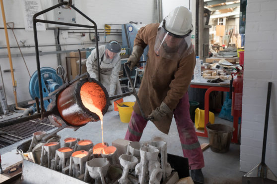 The finishing process involves sandblasting, grinding, sanding, polishing, welding, and patination