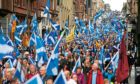 Thousands of people taking part in the 'All Under One Banner' march for Scottish independence through Glasgow city centre.
