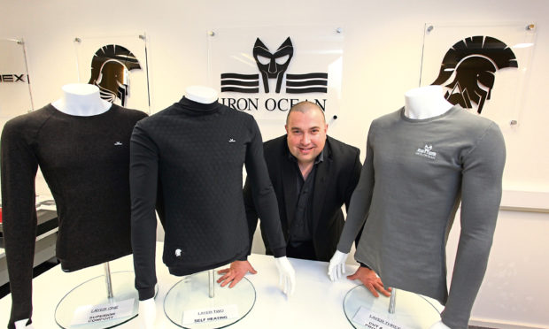 Simon Lamont, founder of Iron Ocean with the Centurion 3 offshore survival garments