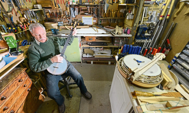 Luthiery Euan Cattanach, 78, Scotland's only dedicated banjo-maker.
