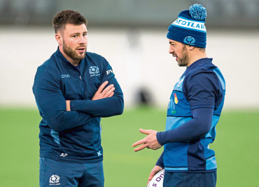 Scotland's Ali Price (left) and captain Greig Laidlaw at Scotland training this week.