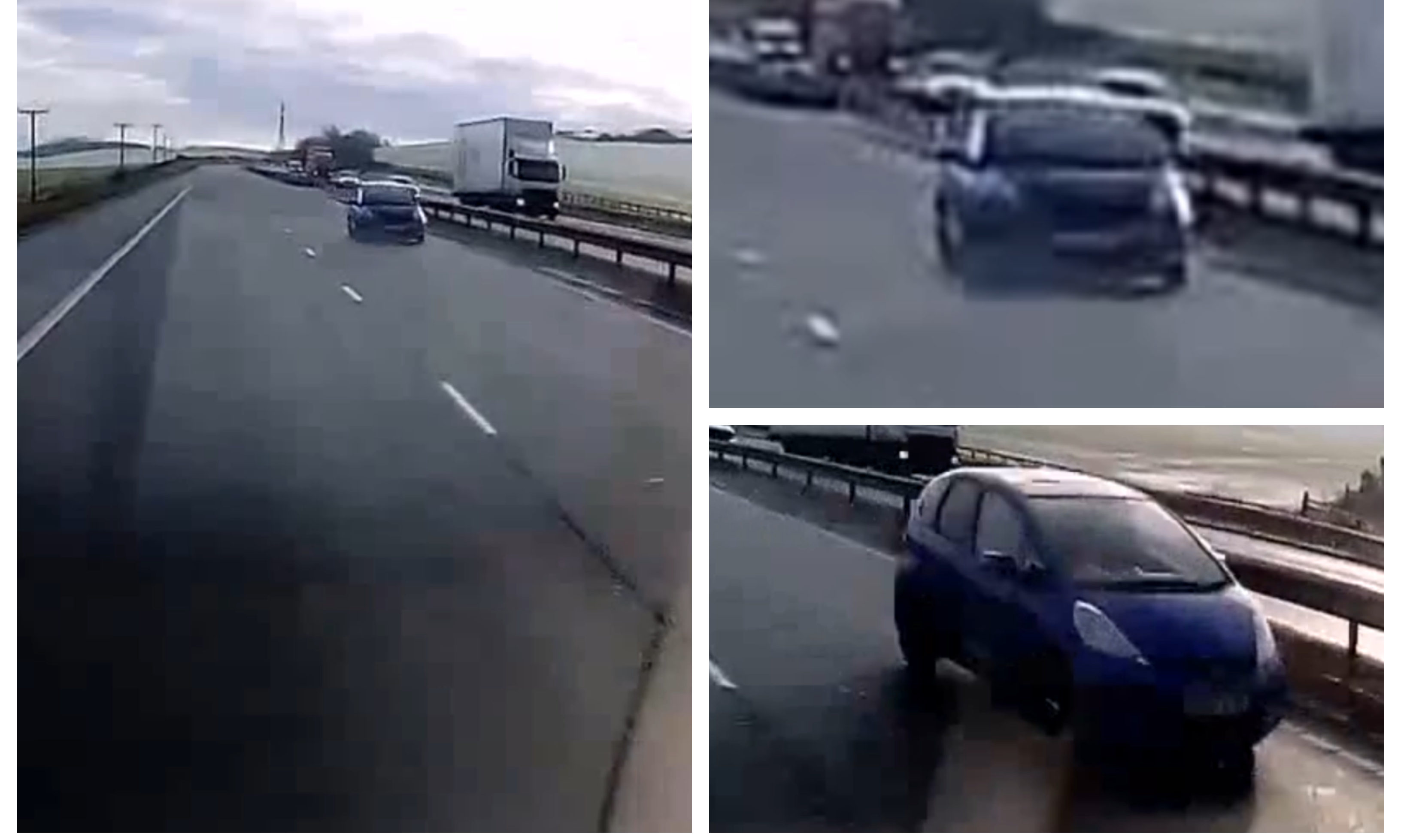 The driver heading up the M90 - on the wrong side of the road.