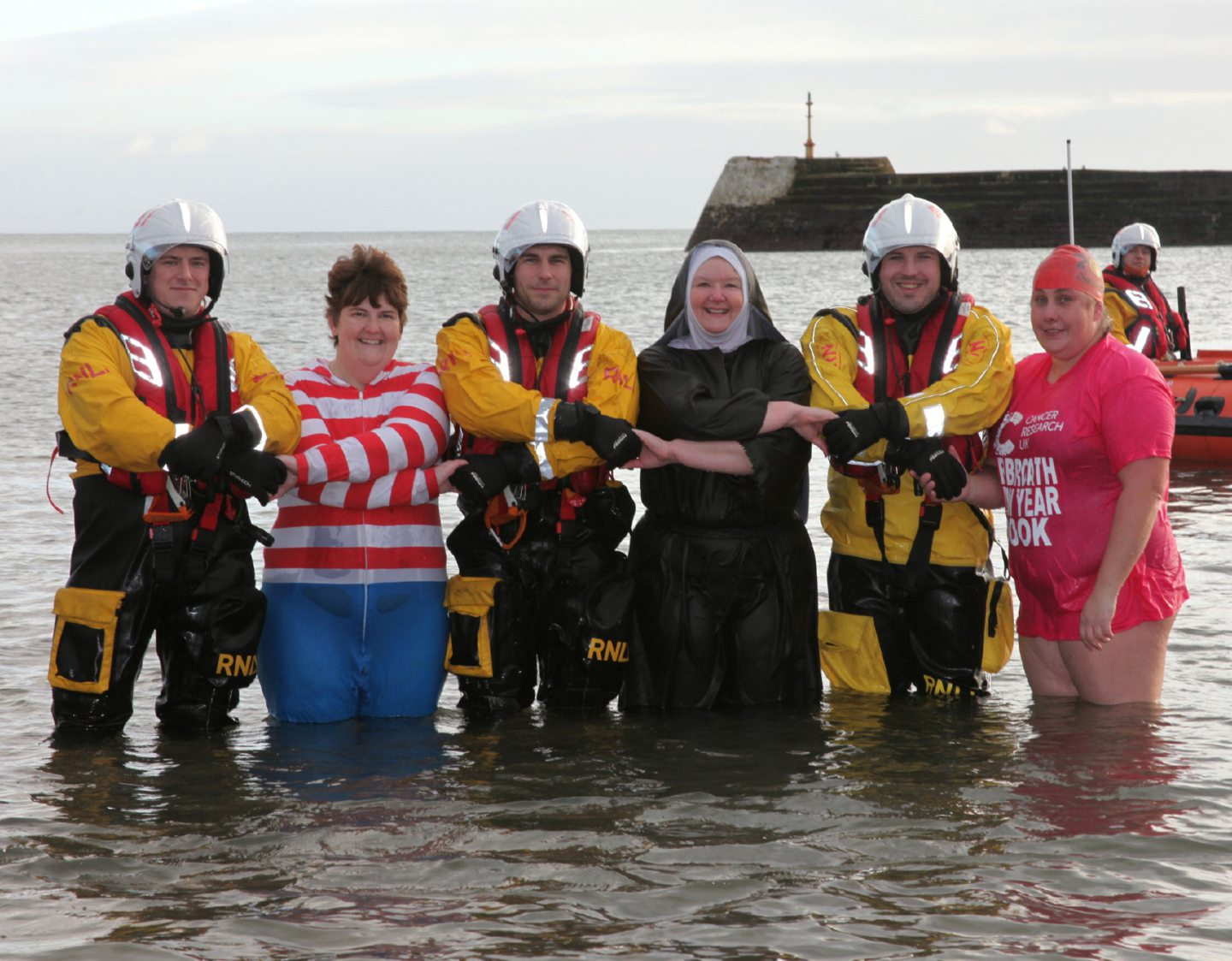The RNLI team at Arbroath with some of those who took to the water in 2019.