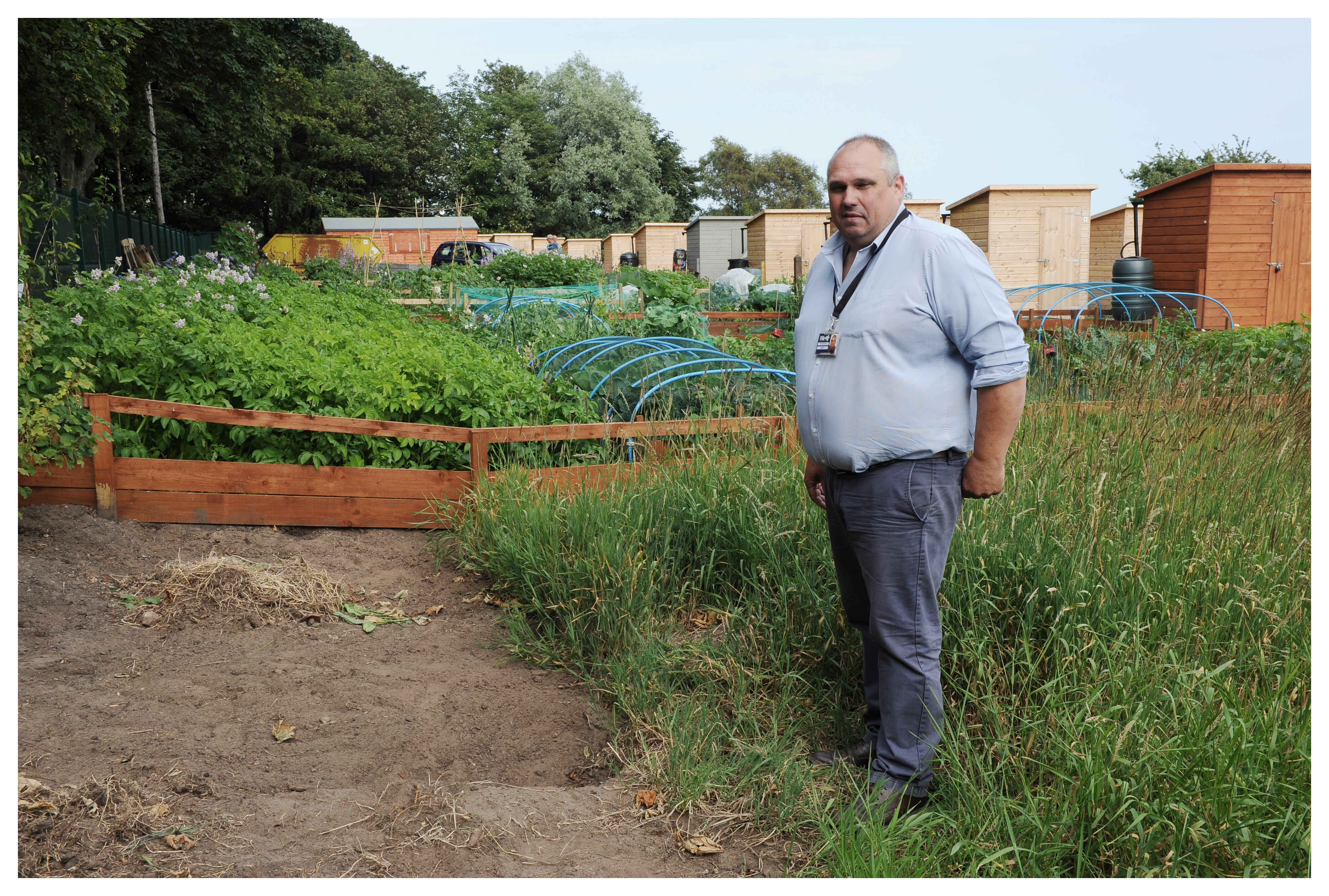 Silverburn Allotment Officer Peter Duncan.from Fife Council at Plot 4 Where military ordnance was discovered and was later made safe by a controlled explosion.