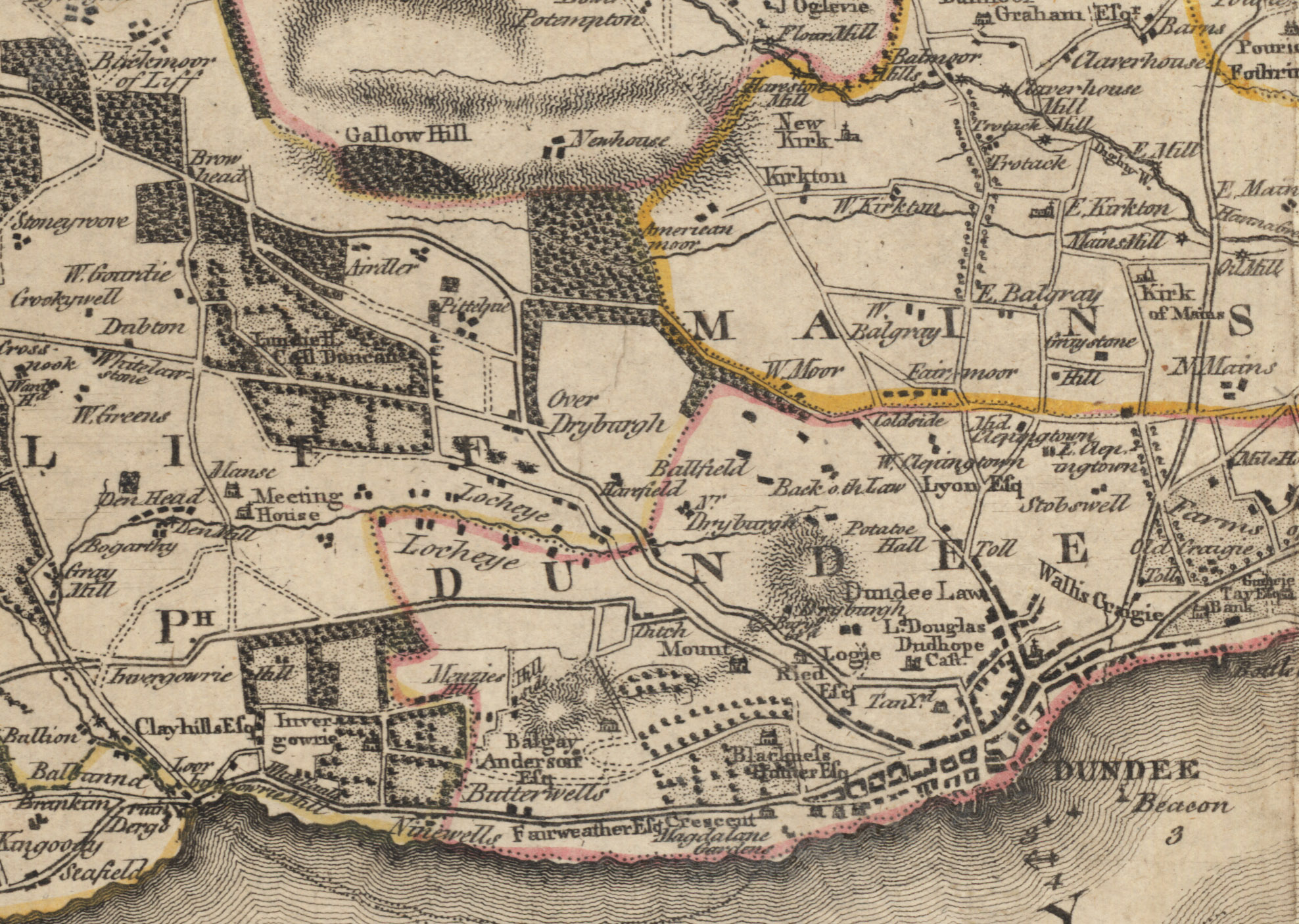 A map of Dundee from 1794.