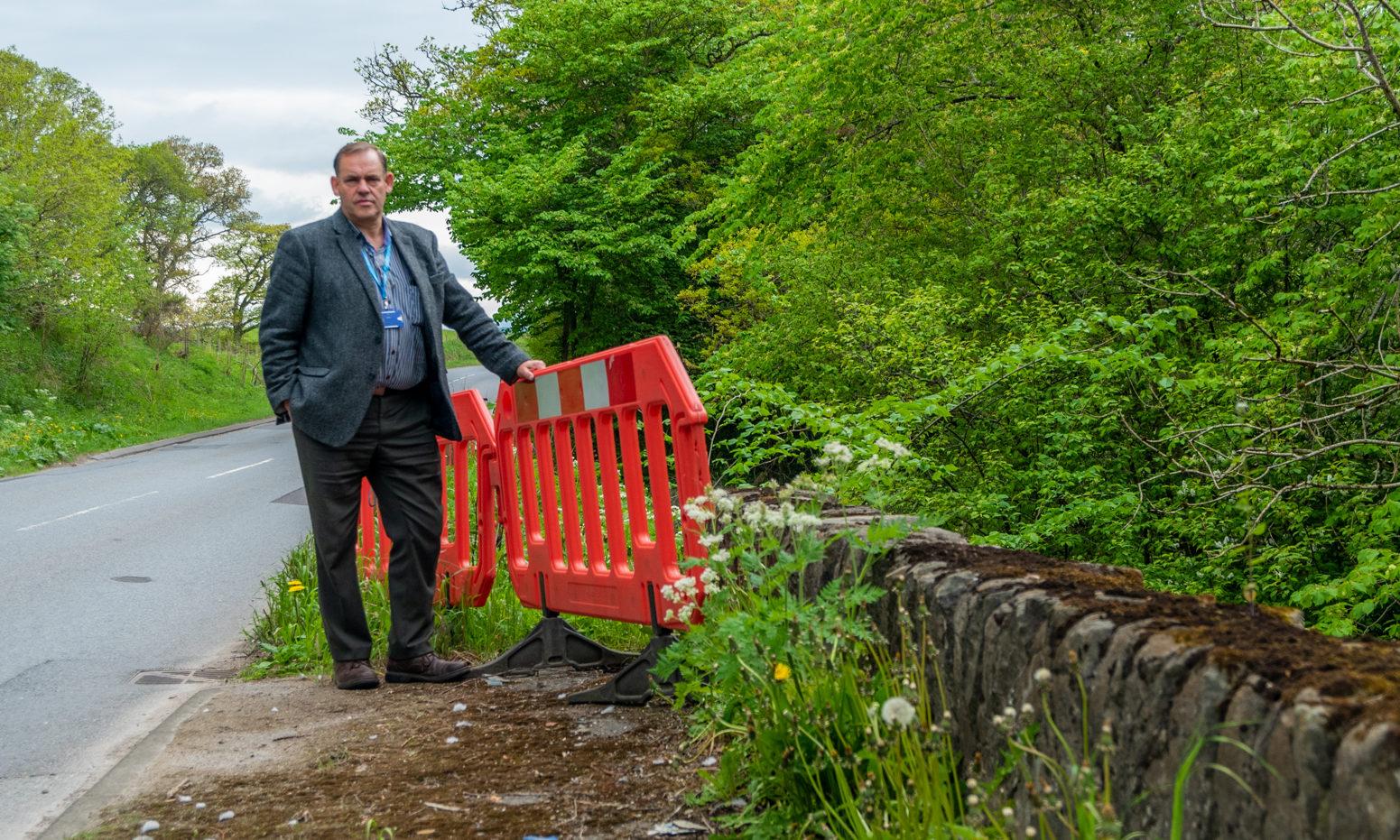 Councillor John Duff at Cultullich Bridge, near Aberfeldy.