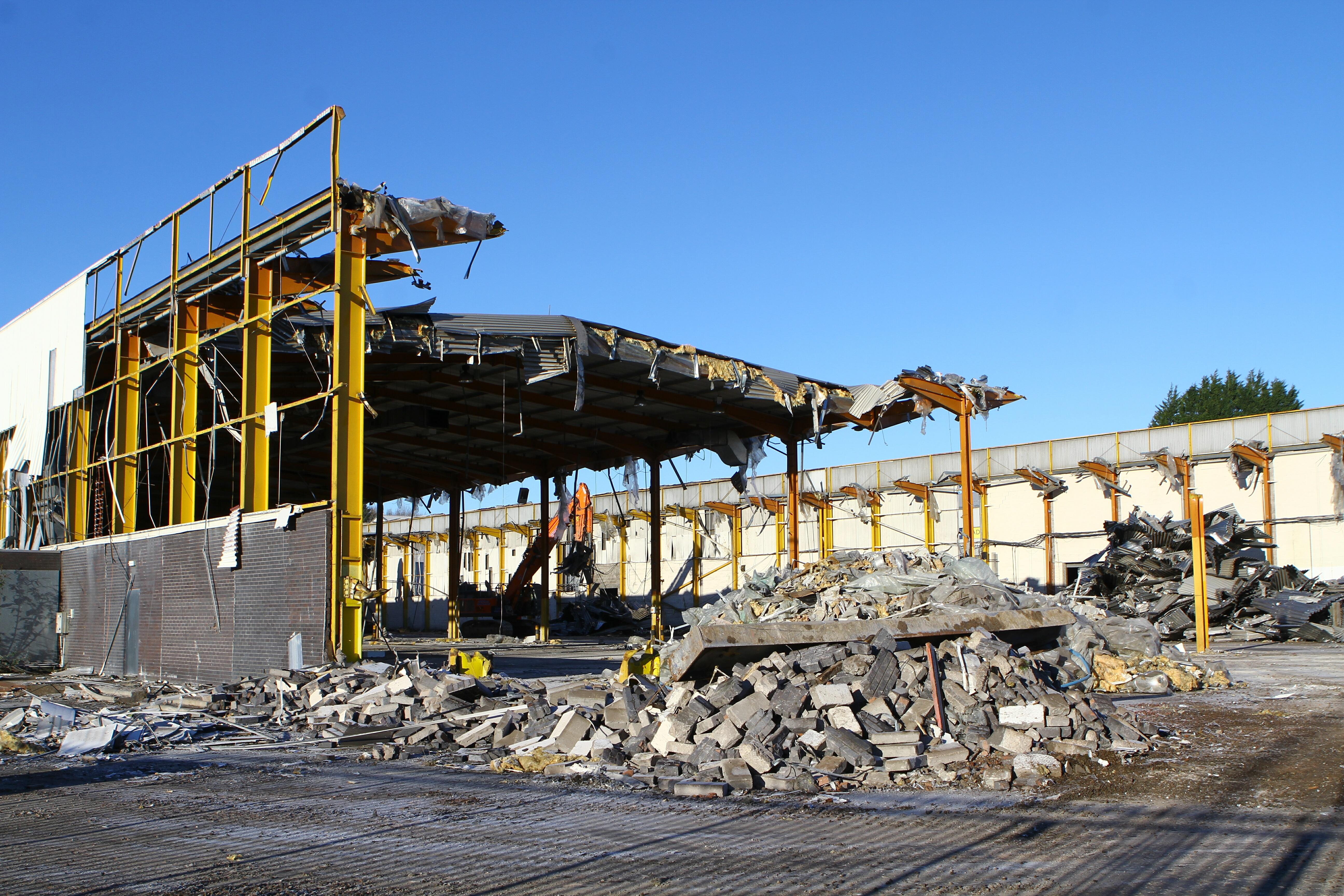 Former Tesco Distribution Centre demolition.