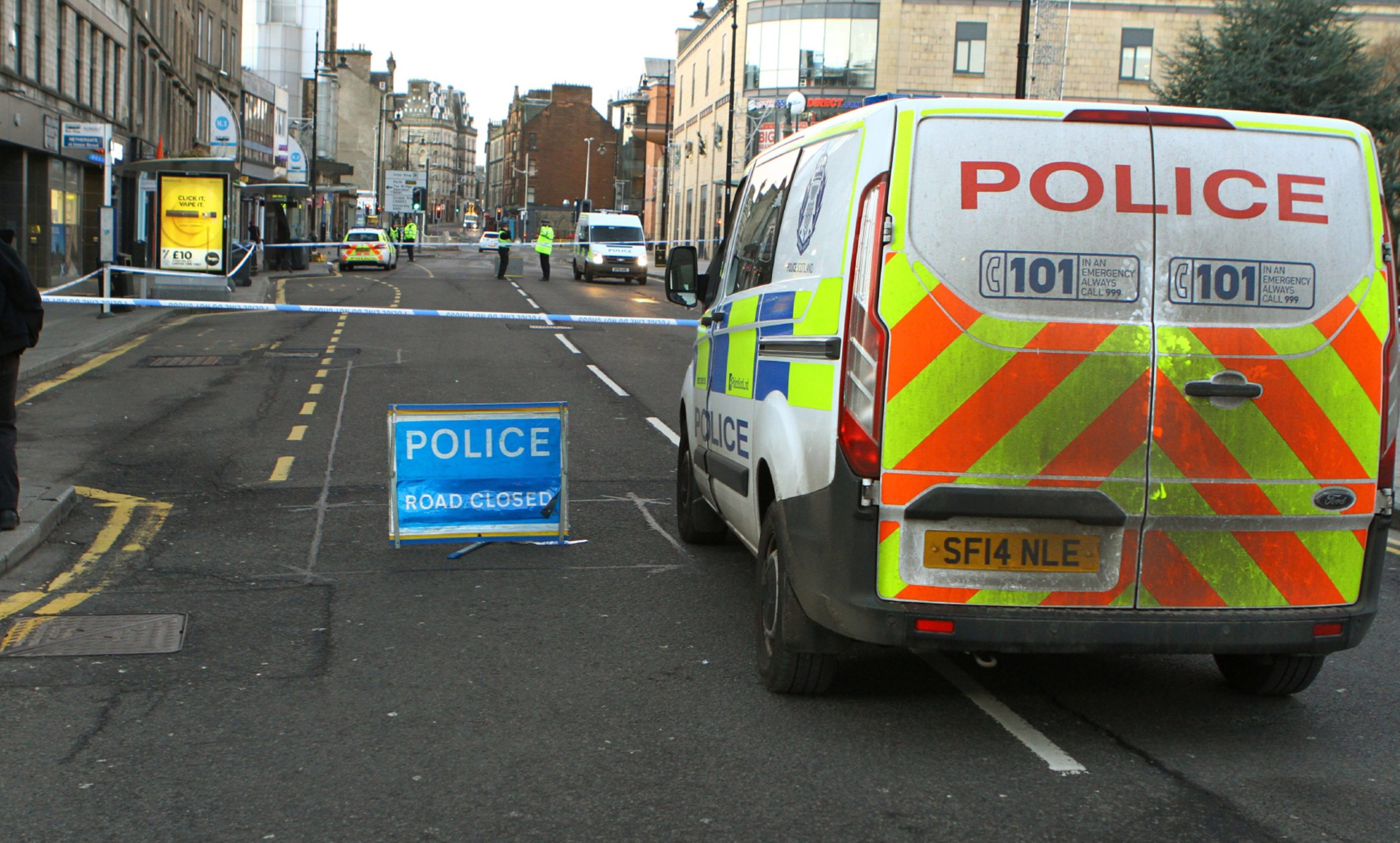 Police at the scene of the Nethergate incident at New Year.