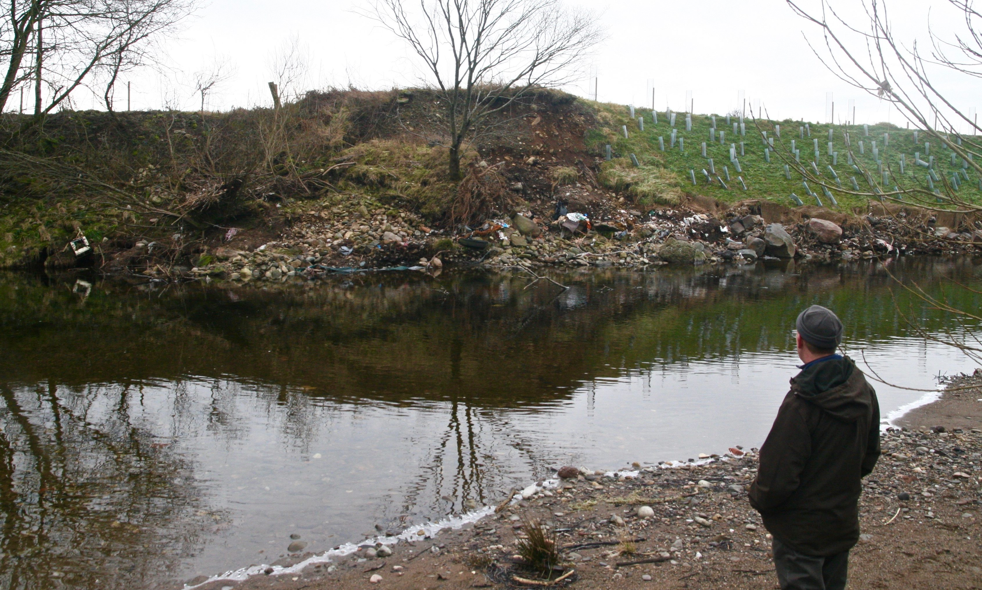 Robert Kellie assesses beaver damage at River Ericht.