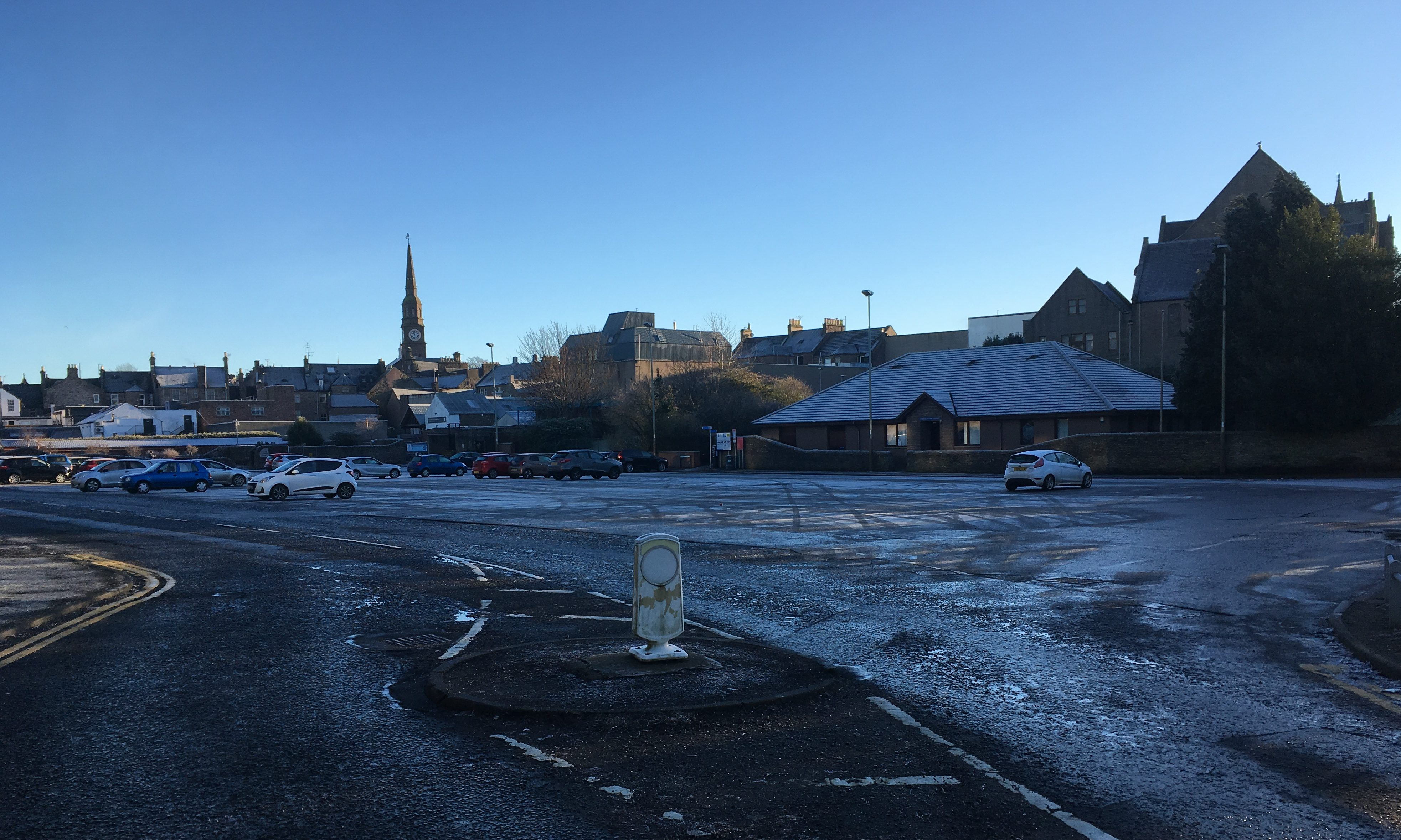 Forfar's Myre car park was virtually deserted on Christmas Eve morning