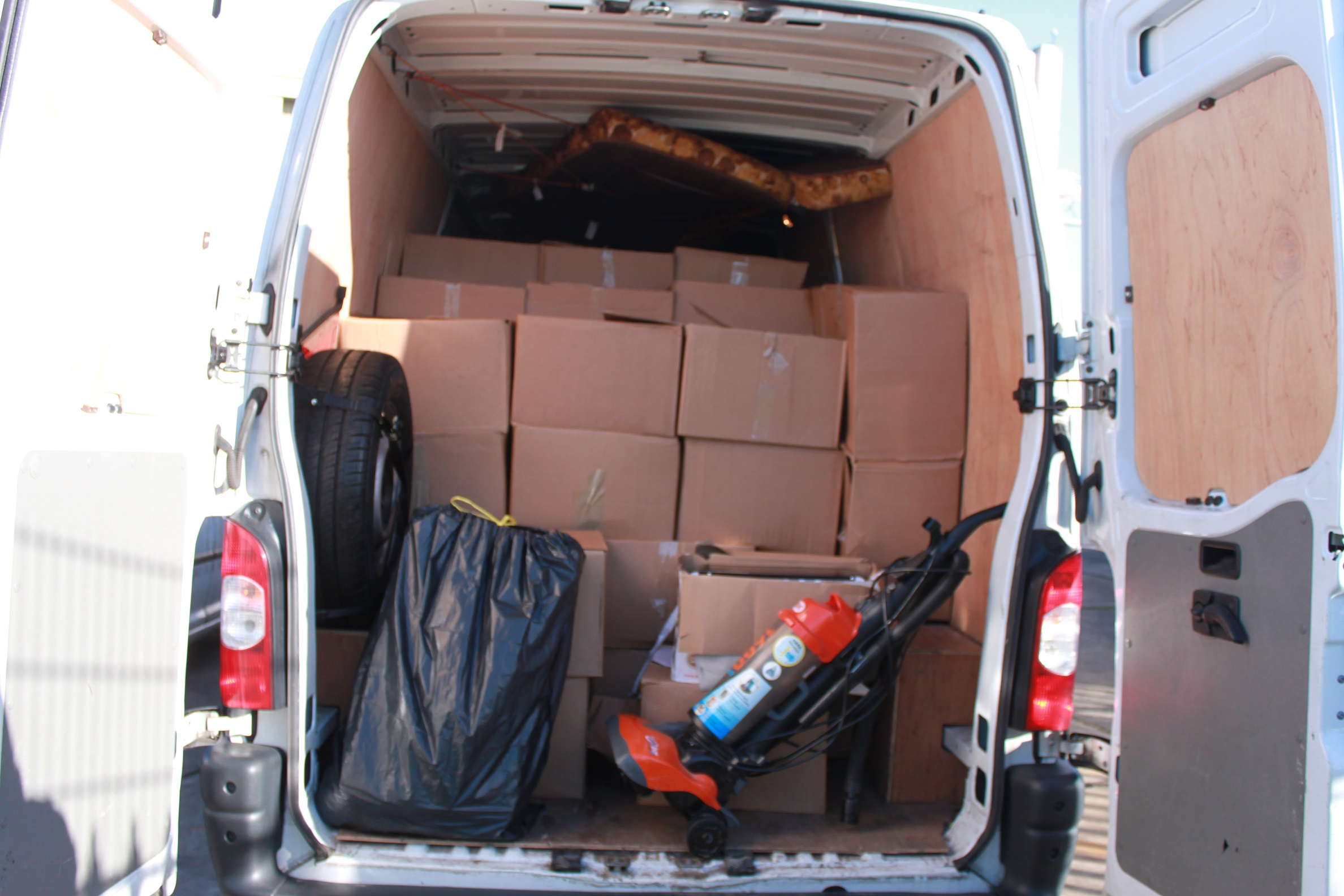 the van packed with boxes