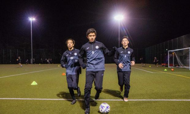 Jorge Palma, Daniel Millan and Diego Hernandez in training at Perth High School