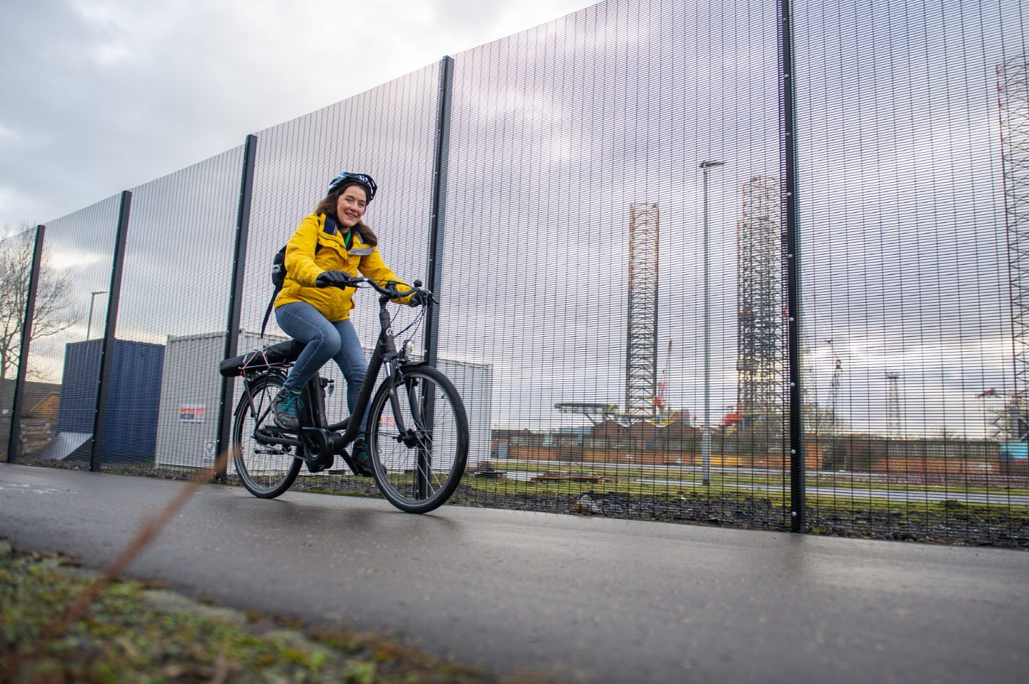 A cyclist using the revamped shared use path through Dundee Port.