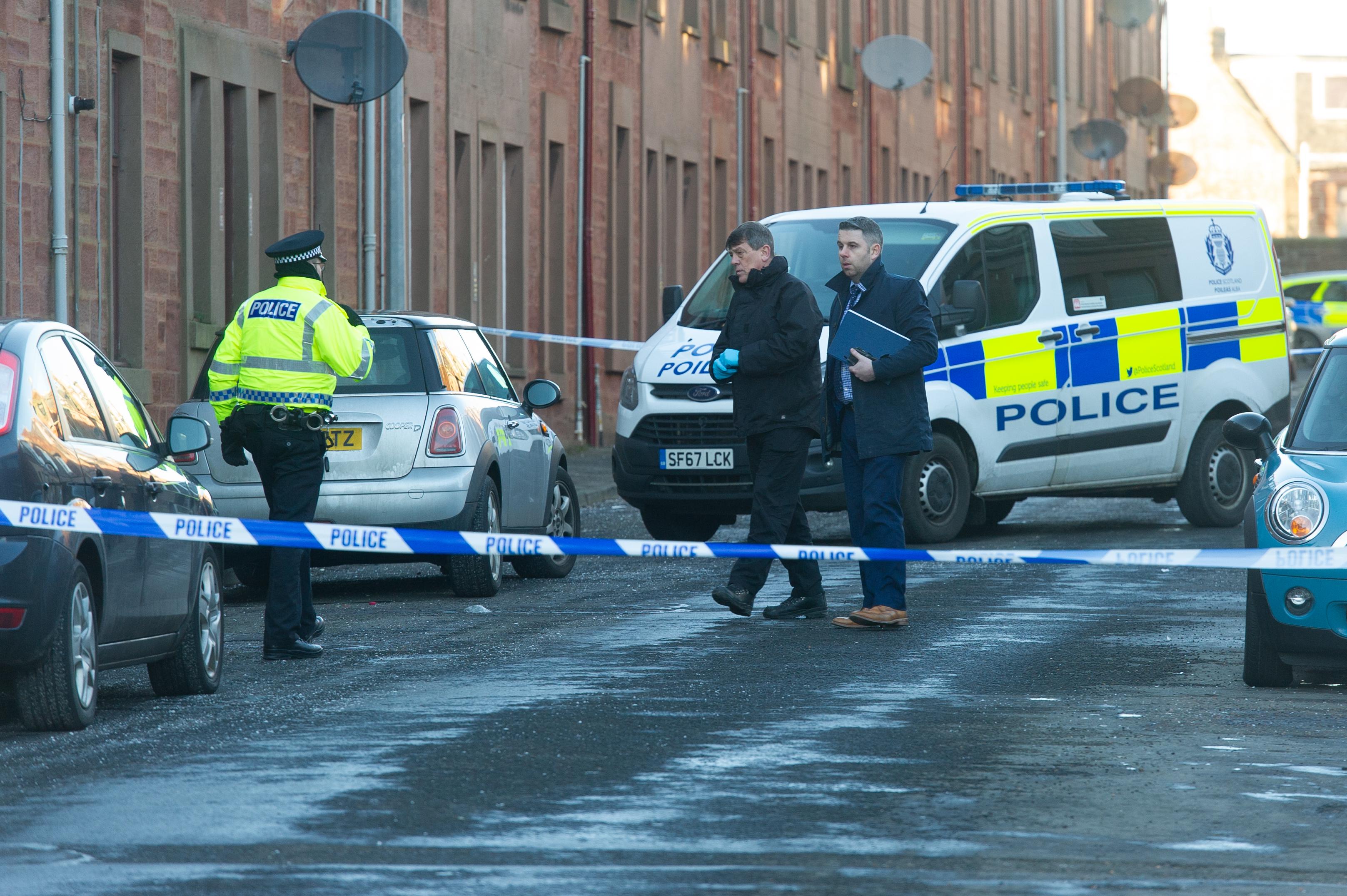 The major police activity in Sidney Street, Arbroath.