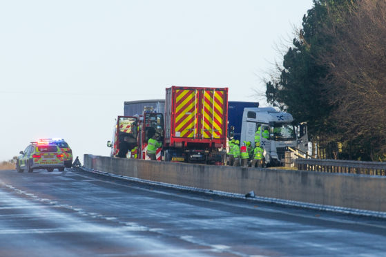 The scene of the RTC which saw a lorry jackknife and block the southbound carriageway of the A90 at Brechin.